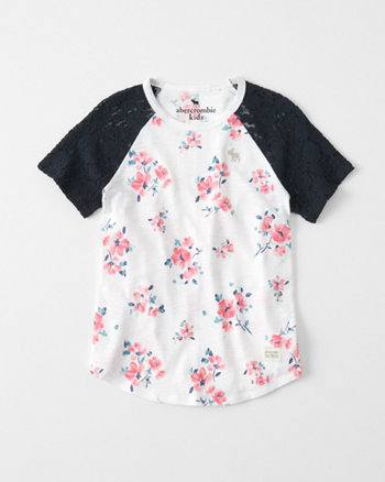 kids Lace Sleeve Baseball Tee