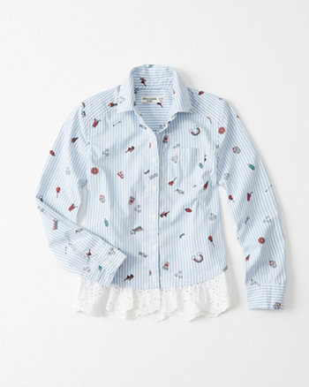 kids Lace Hem Poplin Shirt
