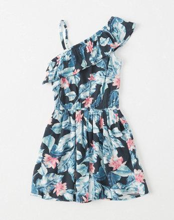 kids One-Shoulder Ruffle Dress