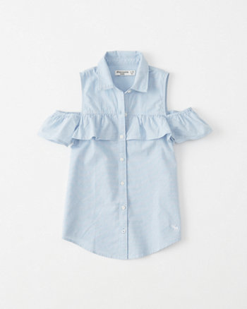 kids Cold-Shoulder Ruffle Shirt