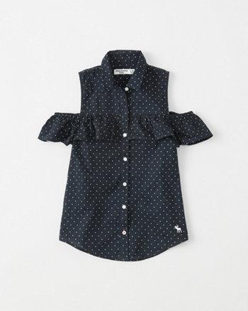 kids Cold-Shoulder Ruffle Shirt