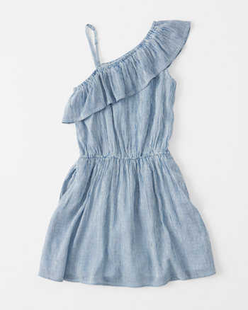 kids one-shoulder skater dress