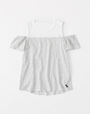 kids lace-panel cold-shoulder tee