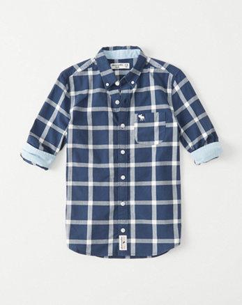 kids stretch poplin icon button-up shirt