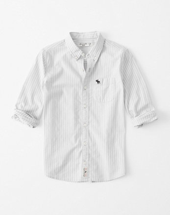 kids stretch icon button-up shirt