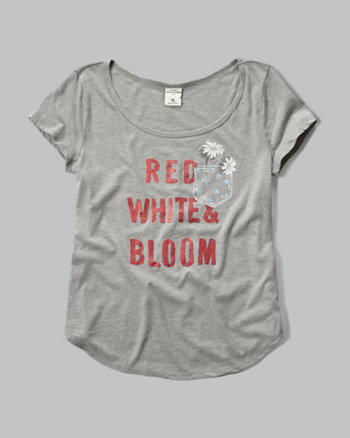 kids red, white & bloom graphic tee