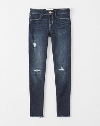 kids ripped pull-on jean leggings