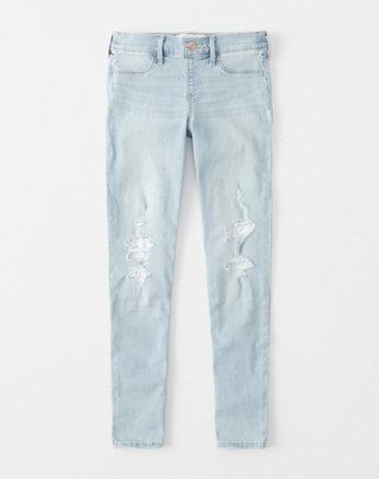 kids lace pull-on jean leggings