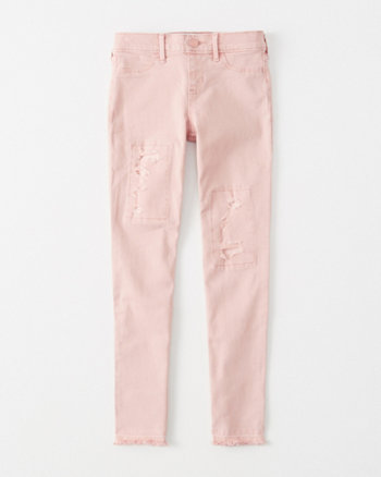 kids ripped pull-on jean leggings