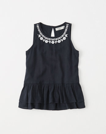 kids embroidered peplum tank