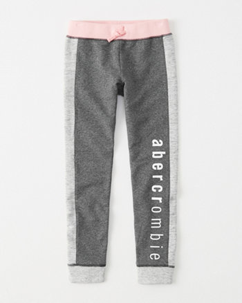 kids colorblock logo fleece leggings