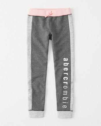 kids colorblock logo fleece leggings