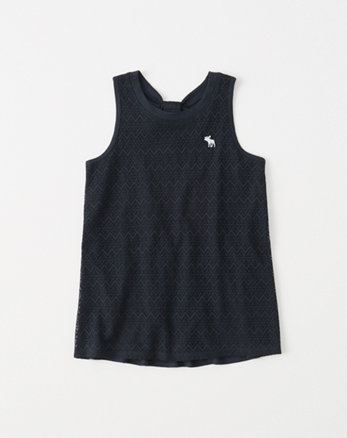 kids lace bow-back tank