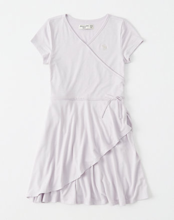 kids wrap-front skater dress