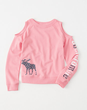 kids Shine Graphic Cold-Shoulder Pullover