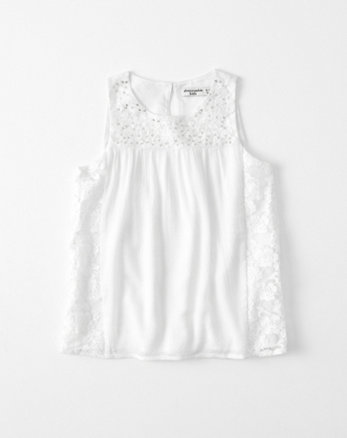 kids lace-panel shine tank