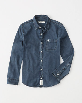 kids denim stretch icon button-up shirt