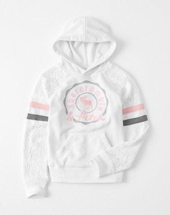kids lace-sleeve graphic hoodie