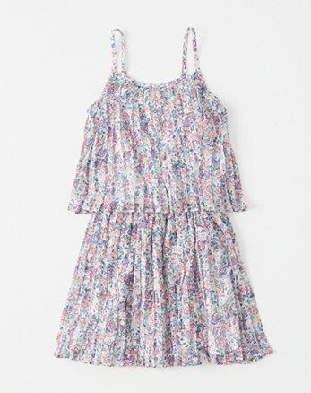 kids pleated chiffon tiered dress
