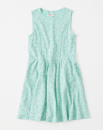 kids stretch lace skater dress