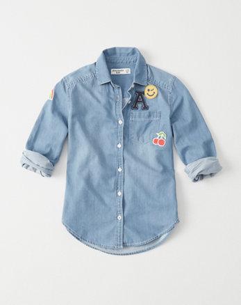 kids Button Down Patch Shirt