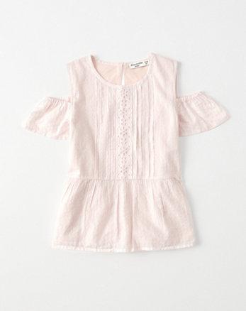 kids cold-shoulder shine peasant top