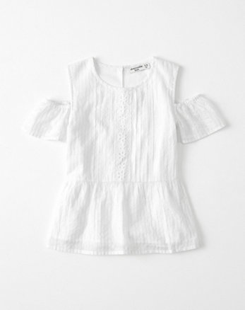 kids cold-shoulder shine peasant top