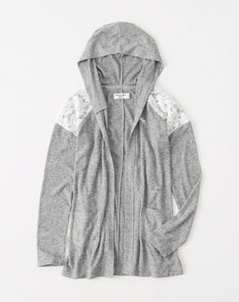 kids lace-shoulder hooded cardigan