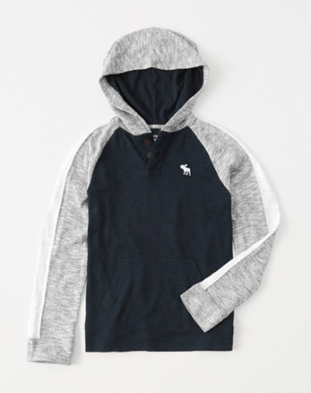 kids icon henley hoodie
