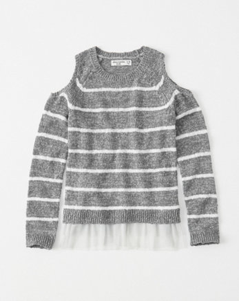 kids mesh-hem cold-shoulder sweater