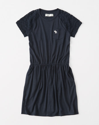 kids lace-sleeve t-shirt dress