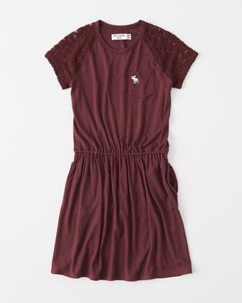 kids lace-sleeve t-shirt dress