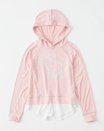 kids cozy graphic twofer hoodie