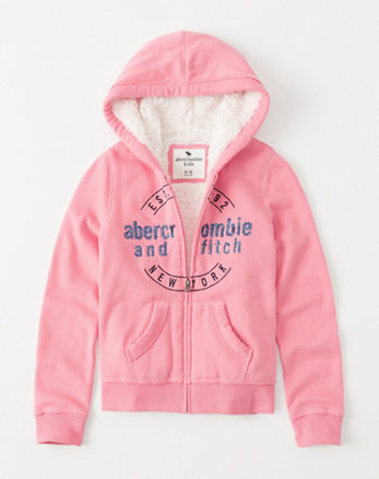 kids sherpa-lined shine graphic hoodie