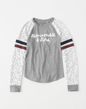 kids lace-sleeve graphic tee