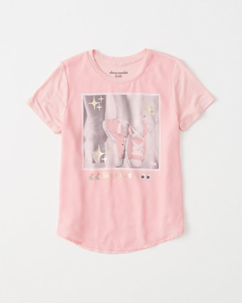 kids chiffon-front shine graphic tee