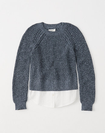 kids shirt-hem twofer sweater