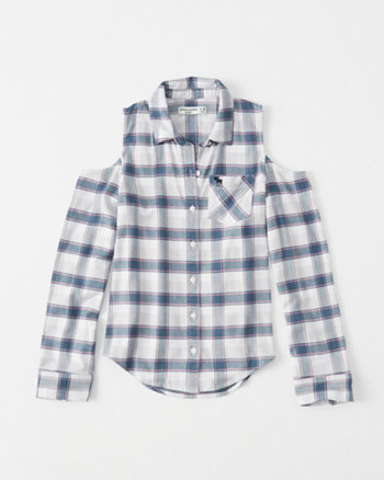 kids cold-shoulder button-up shirt