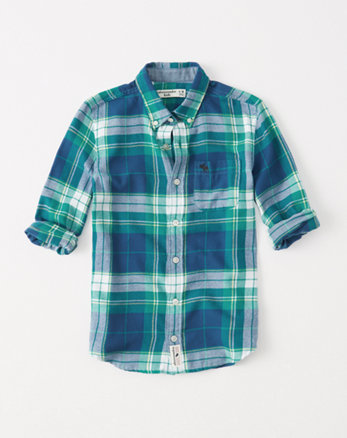 kids lightweight flannel button-up shirt