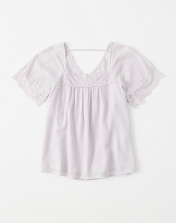 kids lace-trim peasant top