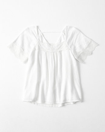 kids lace-trim peasant top