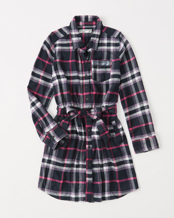kids plaid shirtdress