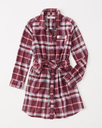 kids plaid shirtdress