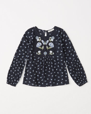 kids embroidered peasant top