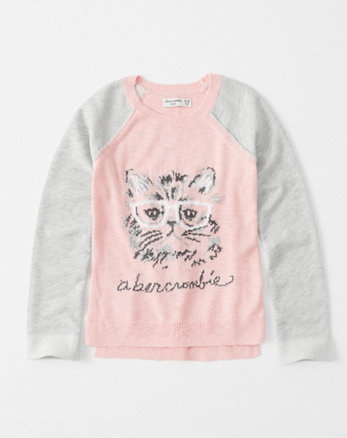 kids intarsia raglan pullover
