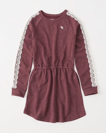 kids lace-sleeve sweatshirt dress