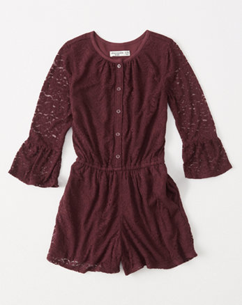 kids lace bell-sleeve romper