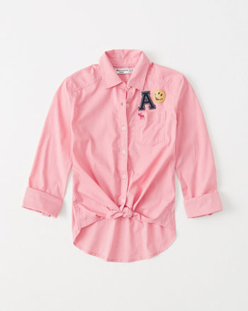 kids patch tie-front button-up shirt