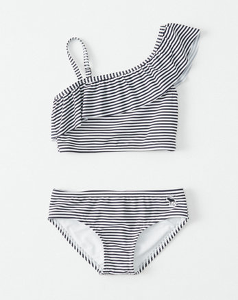 kids one-shoulder two-piece swimsuit