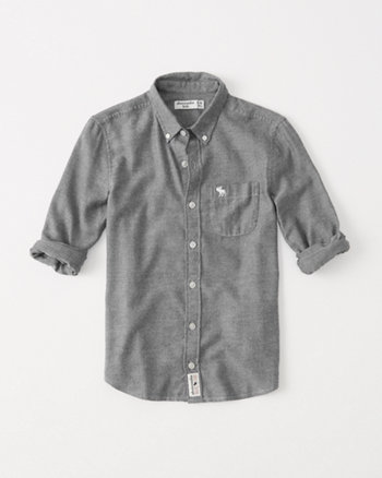 kids cozy twill button-up shirt